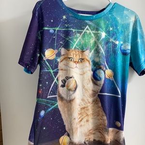 Fun Printed Fat Cat Space Planets T-shirt M